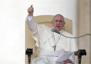 File photo of Pope Francis gesturing as he leads his Wednesday general audience at the Vatican